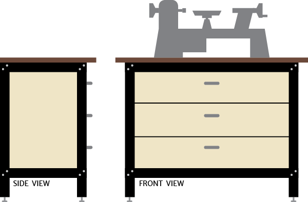 Lathe Enclosed Cabinet and Drawers