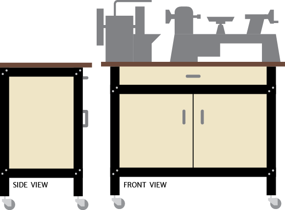 Multiple Tool Table Closed Cabinet